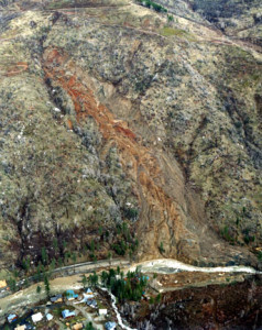 A massive landslide that forced the highway to close in 1983.