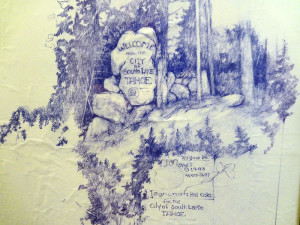 Original sketch of City welcome sign. 1993