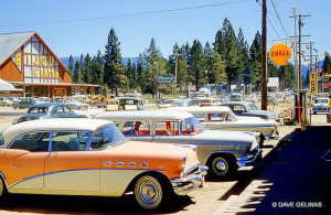The old Bijou Center and parking lot, which is now the CVS on highway 50! Check out those sweet rides!