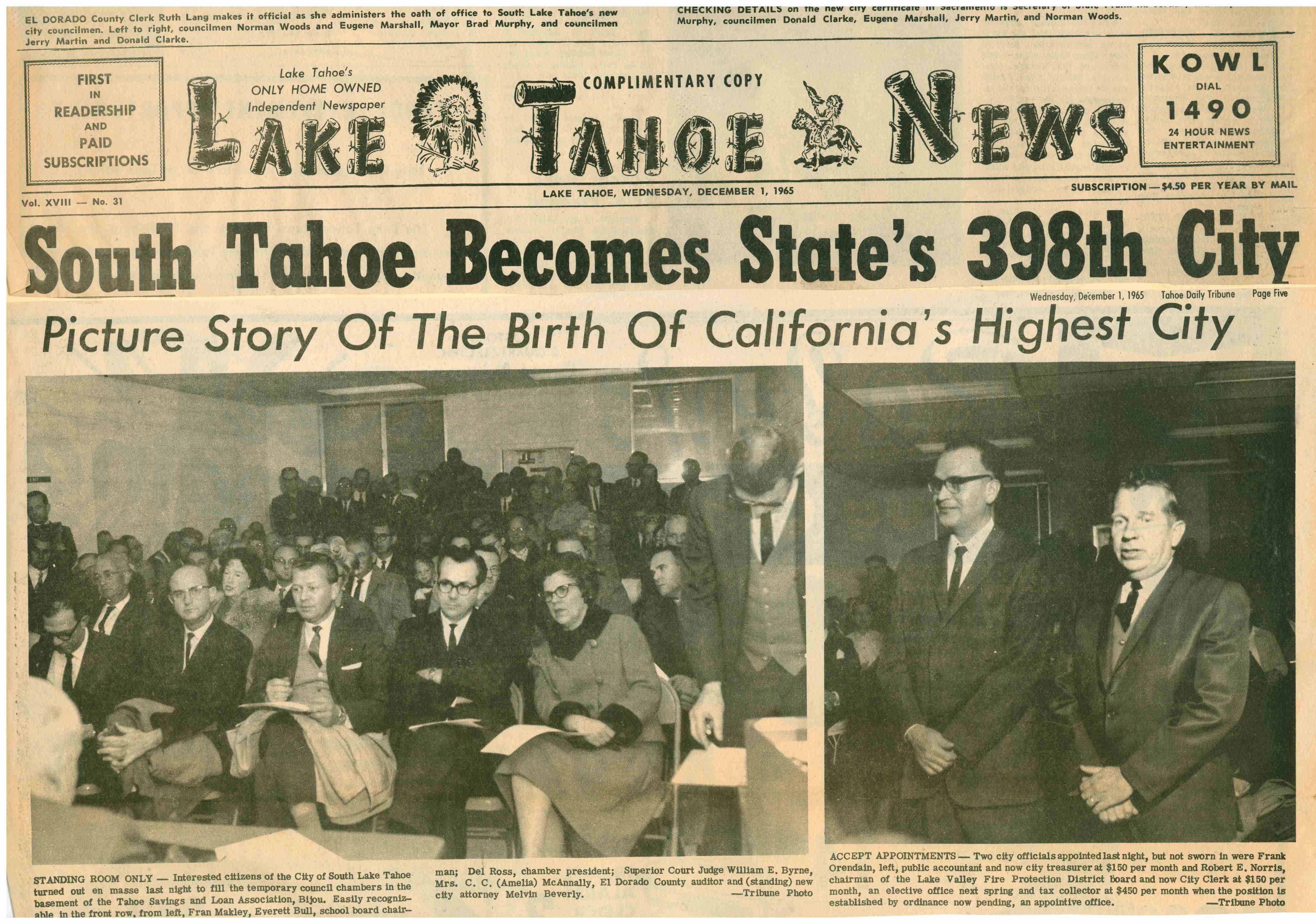 SLT Becomes States 398th City Lake Tahoe News December 1 1965