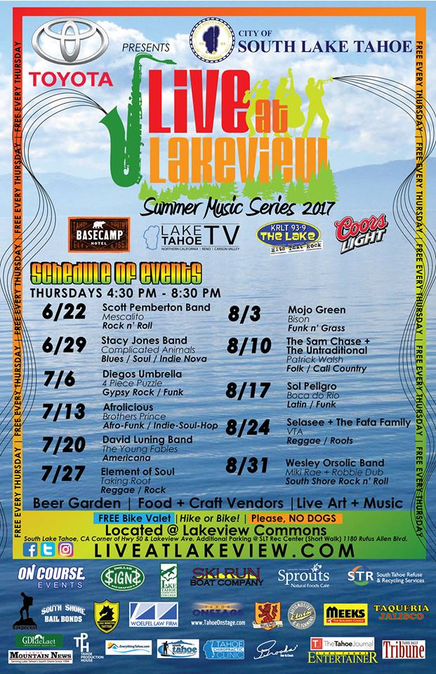 LIVE AT LAKEVIEW SUMMER MUSIC SERIES @ LAKEVIEW COMMONS BEACH  | South Lake Tahoe | California | United States
