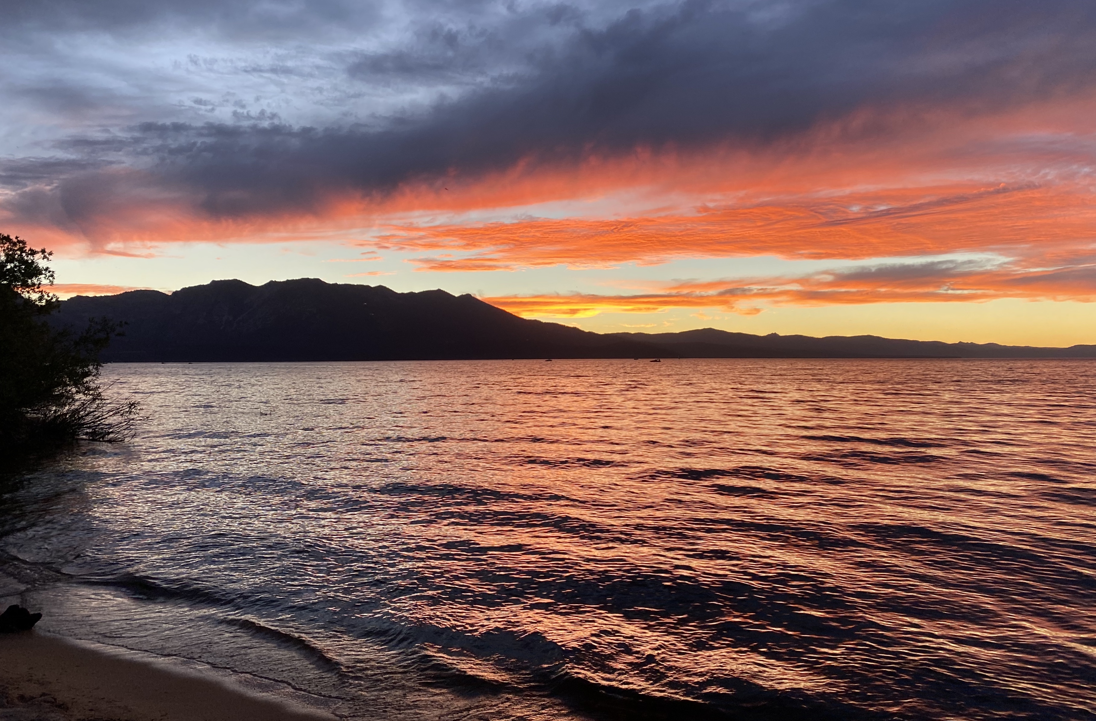 Find a secluded spot to watch the sunset at Tahoe Keys Beach